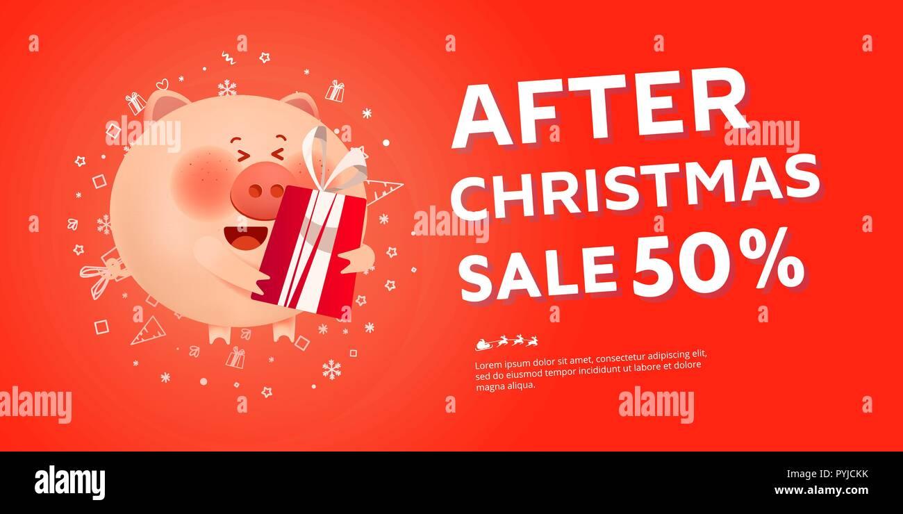 Bilder Nach Weihnachten.Nach Weihnachten Verkauf Banner Mit Santa Schwein Zahlen 2019 Und