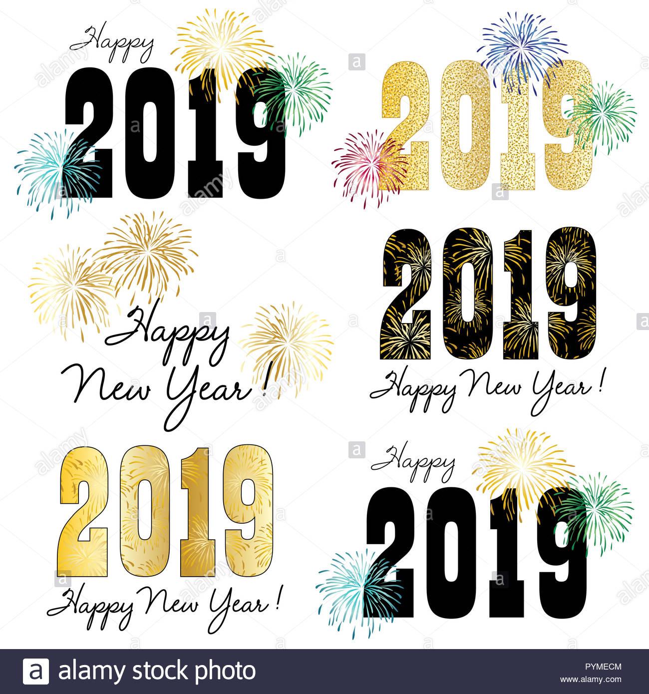 2019 Vektorgrafiken mit Feuerwerk Stockbild