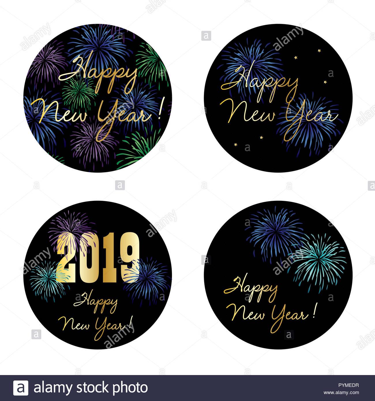 Silvester 2019 Kreis Vektorgrafiken mit Feuerwerk Stockbild