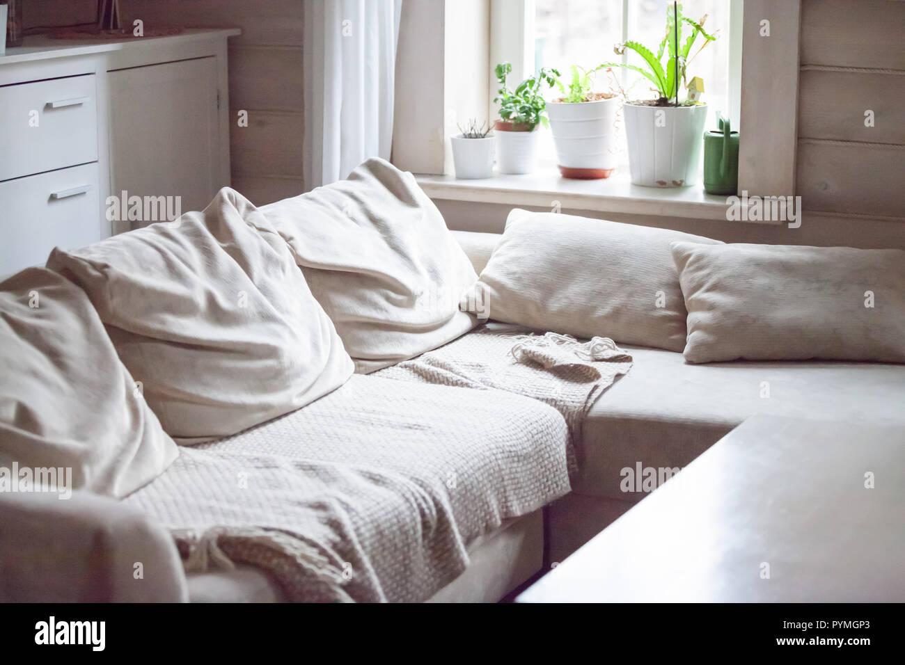 Modernes Wohnen Wohnzimmer Innenraum, keine Personen Stockfoto, Bild ...