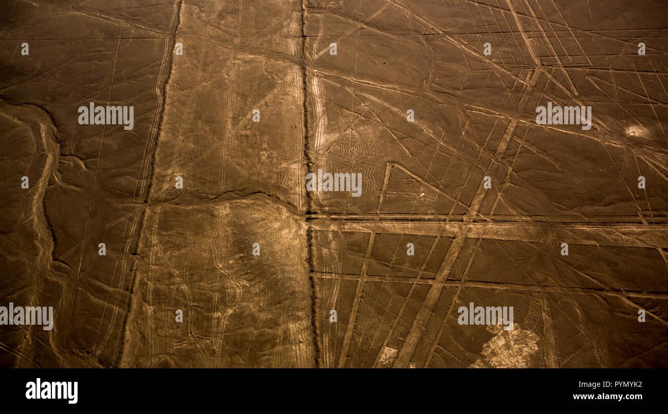 Blick von oben auf die Nazca Linien in Peru, Nazca, Innenarchitektur Stockbild