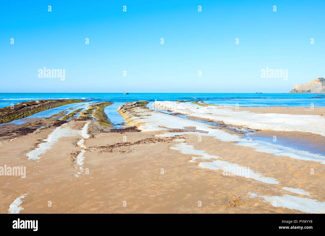 Italien, Sizilien, Realmonte, Ansicht der Majata Strand in der ...
