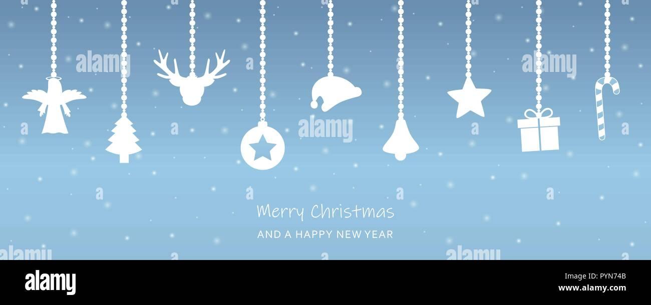 Snowy christmas Grußkarte mit hängende Dekoration Tanne santa Kappe ...