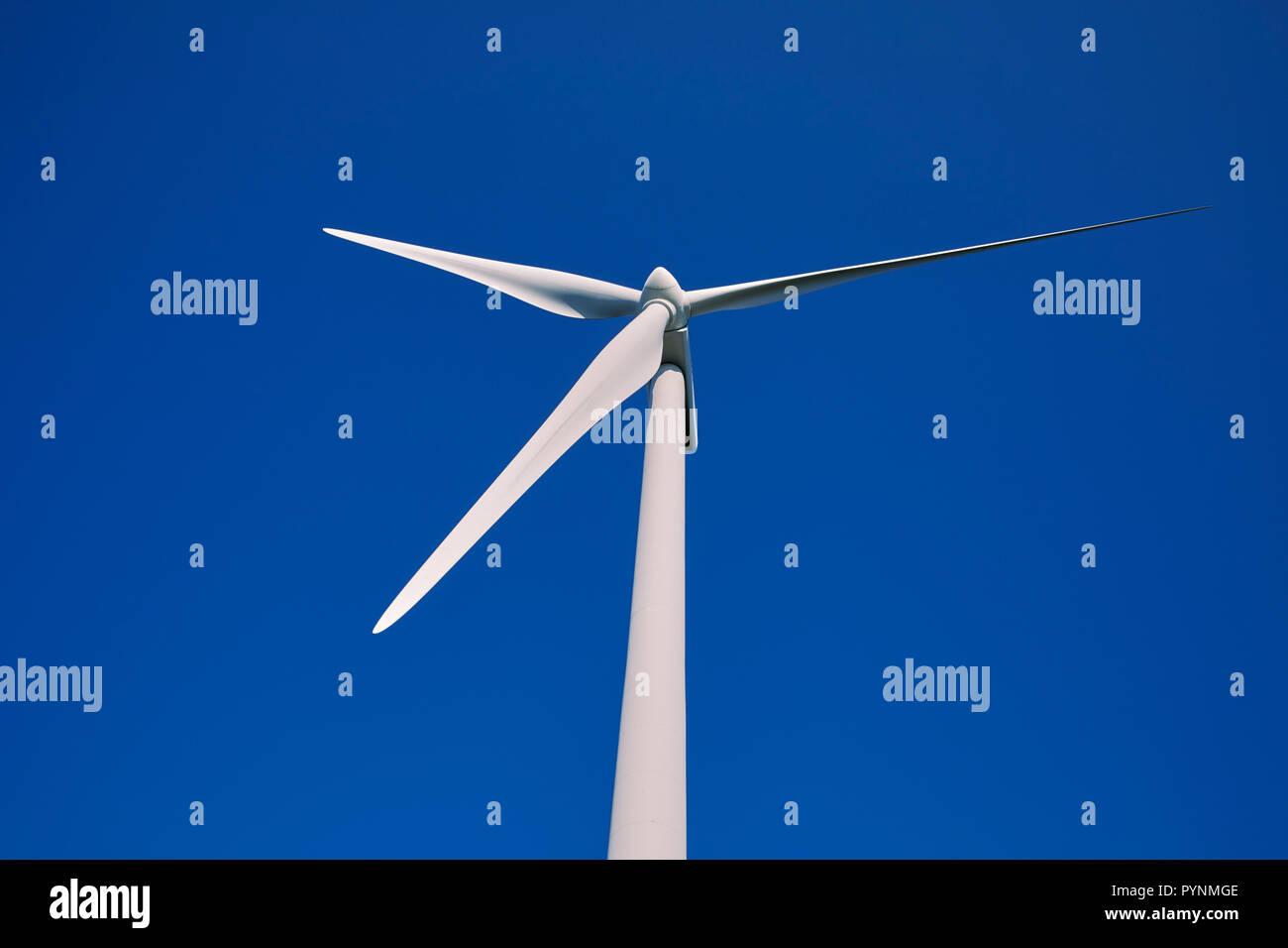 Rotorblätter einer Windkraftanlage powered Generator an einem Windpark auf Kante an den Alto de la Casa del Puerto (Höhe 1025 m). In der Nähe von Tineo, Asturien, Spanien. Stockbild