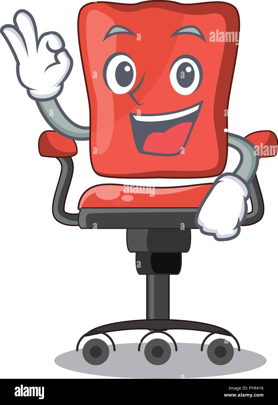 Okay Cartoon Schreibtisch Stuhl Im Buro Stock Vektorgrafik Alamy