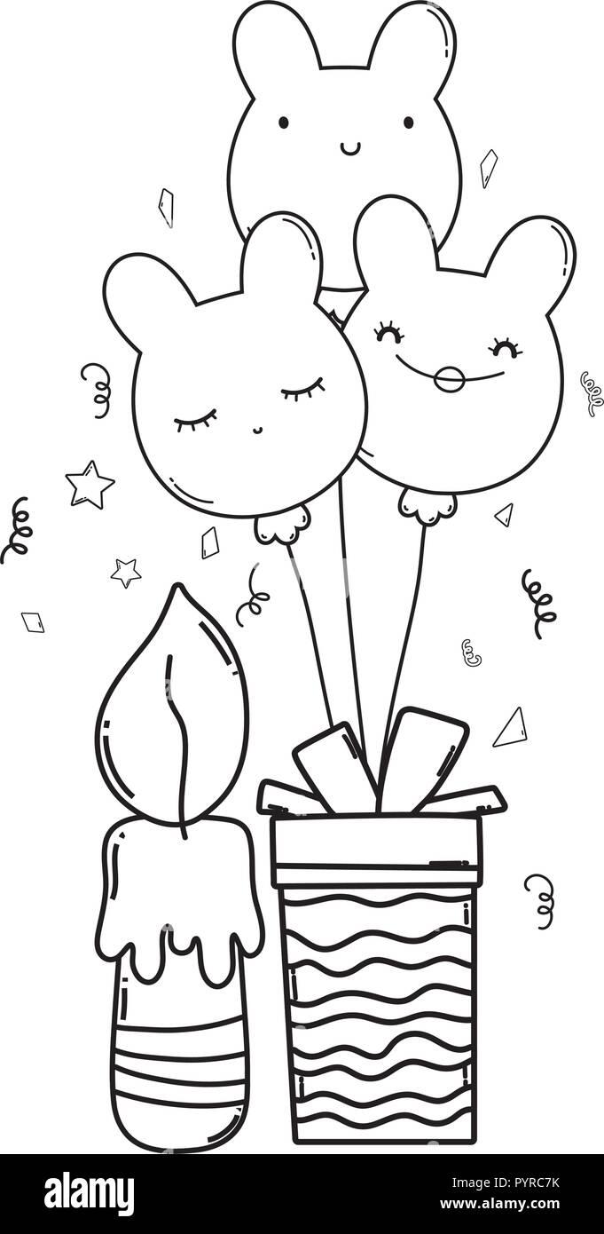 Happy Birthday Cartoons Schwarz Und Weiß Vektor Abbildung