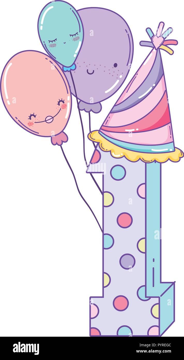 Geburtstag mit Luftballons und Hut Stockbild