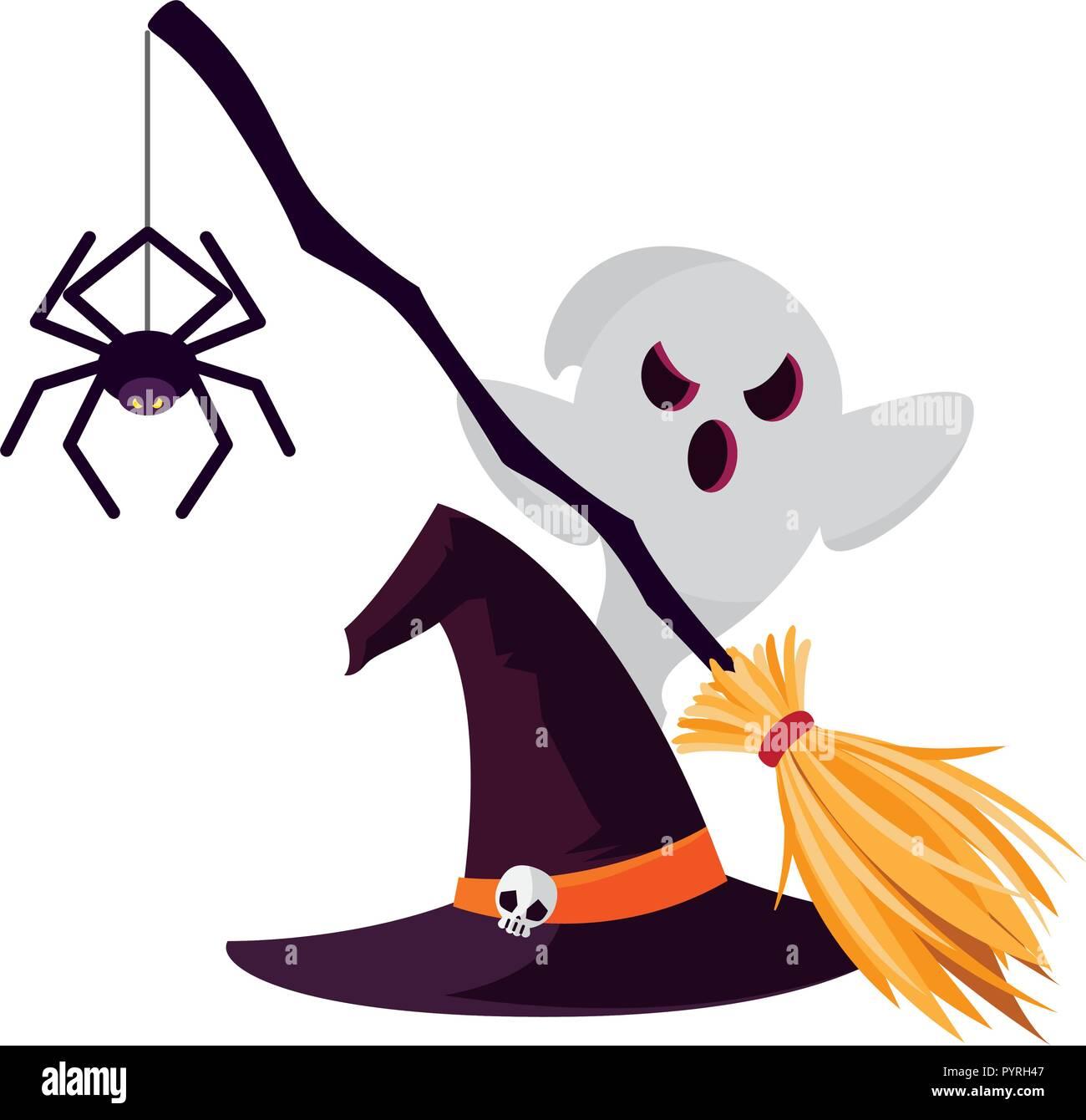 Halloween Hexe Besen Symbol Vektor Illustration Design Vektor
