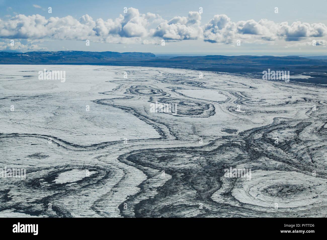 Antenne Landschaft der Gletscher in Island, eiskappe Textur Blick vom kleinen Flugzeug gesehen Stockbild