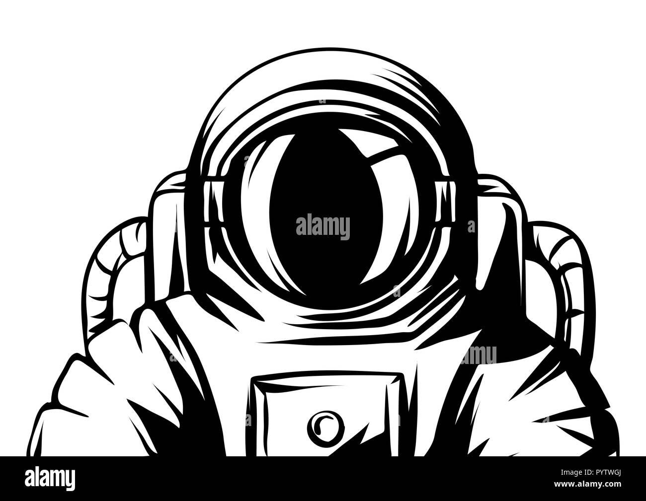 Abbildung: Astronaut. Spaceman in Anzug. Stockbild