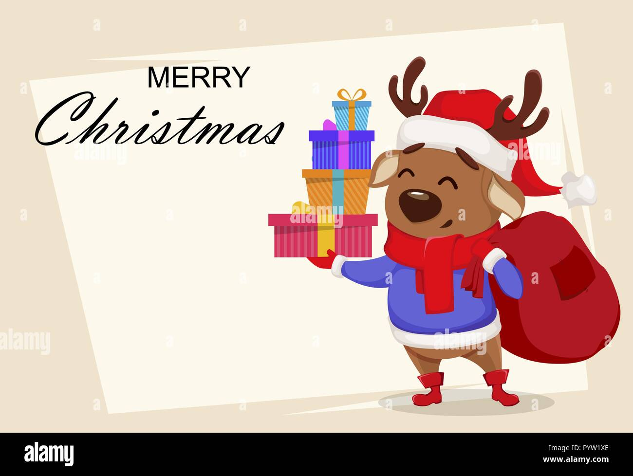 Lustig Frohe Weihnachten.Frohe Weihnachten Grusskarten Mit Cute Deer Tragen