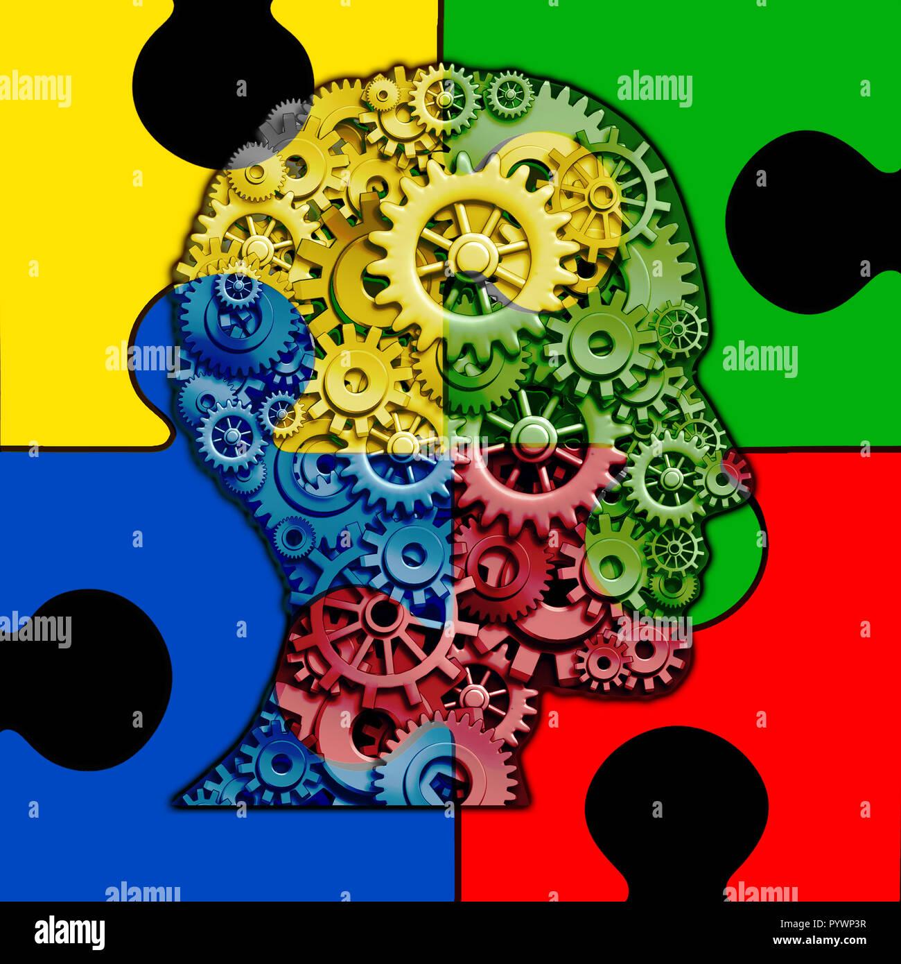 Autismus Gehirnfunktion Konzept und autistischen Entwicklungsstörungen als Symbol einer Kommunikation und Sozialverhalten Psychologie als einem menschlichen Kopf. Stockbild