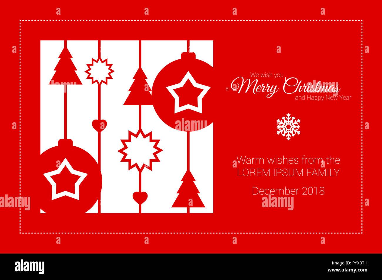 Red christmas Greeting Card Vorlage. Frohe Weihnachten und guten ...