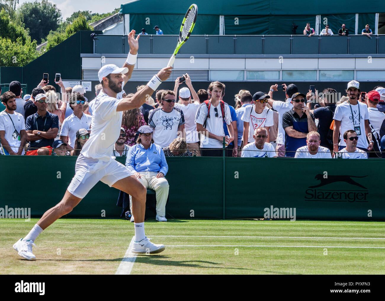 Tennis Player bei Wimbledon Meisterschaft Stockfoto