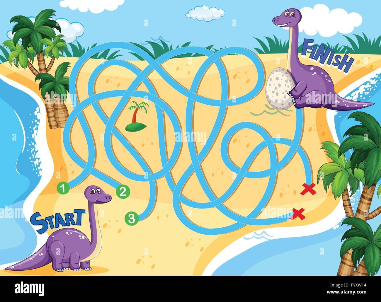 Ein Dinosaurier Brettspiel Vorlage Abbildung Vektor Abbildung Bild