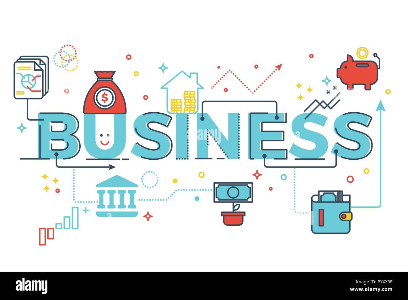 Business Word Schrift Typografie Design Illustration Mit