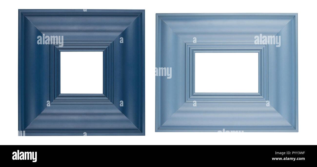 Frontansicht Detail Set mit zwei dicken quadratischen Bilderrahmen in blauer Farbe auf weißem Hintergrund Stockbild