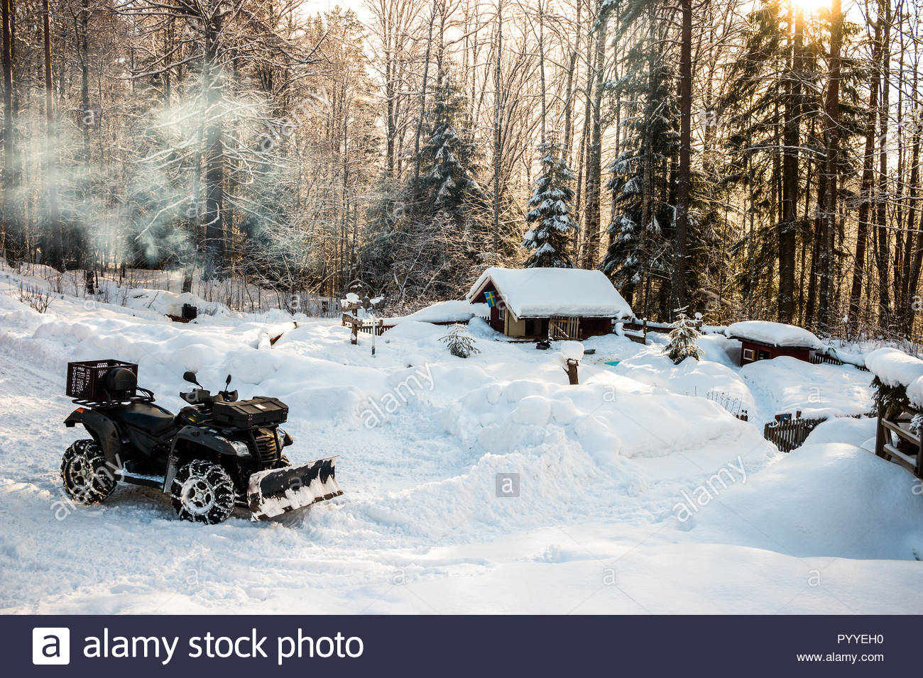 Winter in Schweden mit Spaß Stockbild