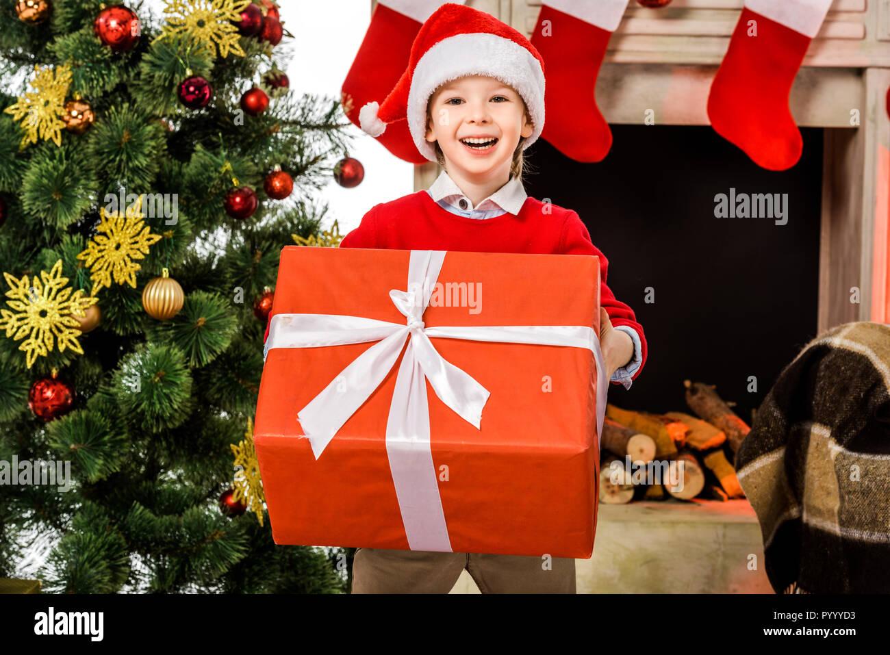 Gerne kleine zicklein mit großen roten weihnachtsgeschenk und kamera