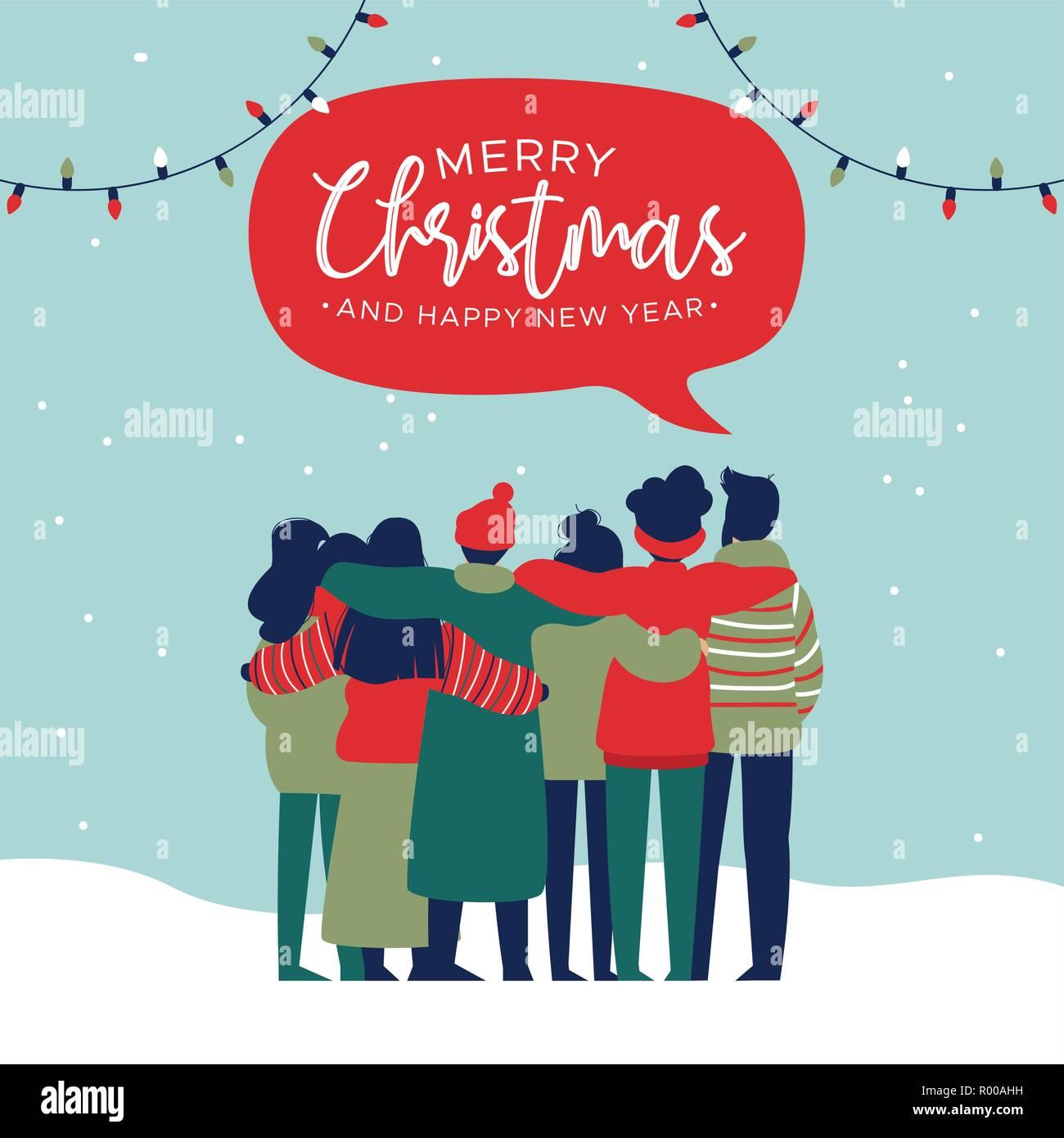 Frohe Weihnachten An Freunde.Frohe Weihnachten Und Guten Rutsch Ins Neue Jahr Grußkarte Abbildung