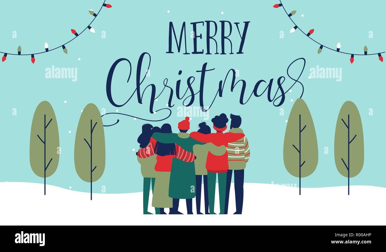 Frohe Weihnachten An Freunde.Frohe Weihnachten Grußkarte Abbildung Von Jugendlichen Freund Gruppe