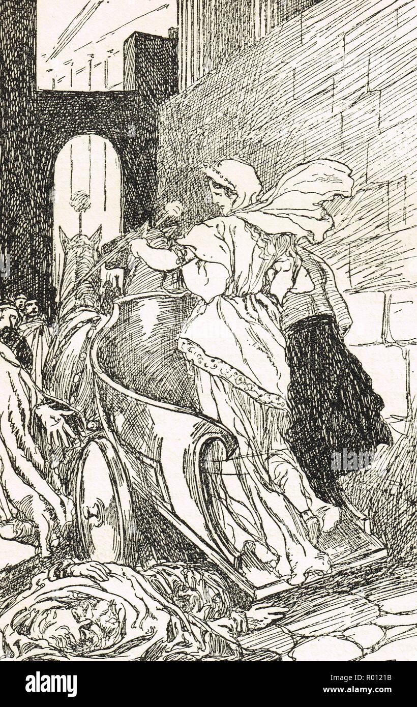 Tullia kleinere Fahrt über den Körper ihres Vaters, Servius Tullius die legendäre sechste König von Rom Stockbild