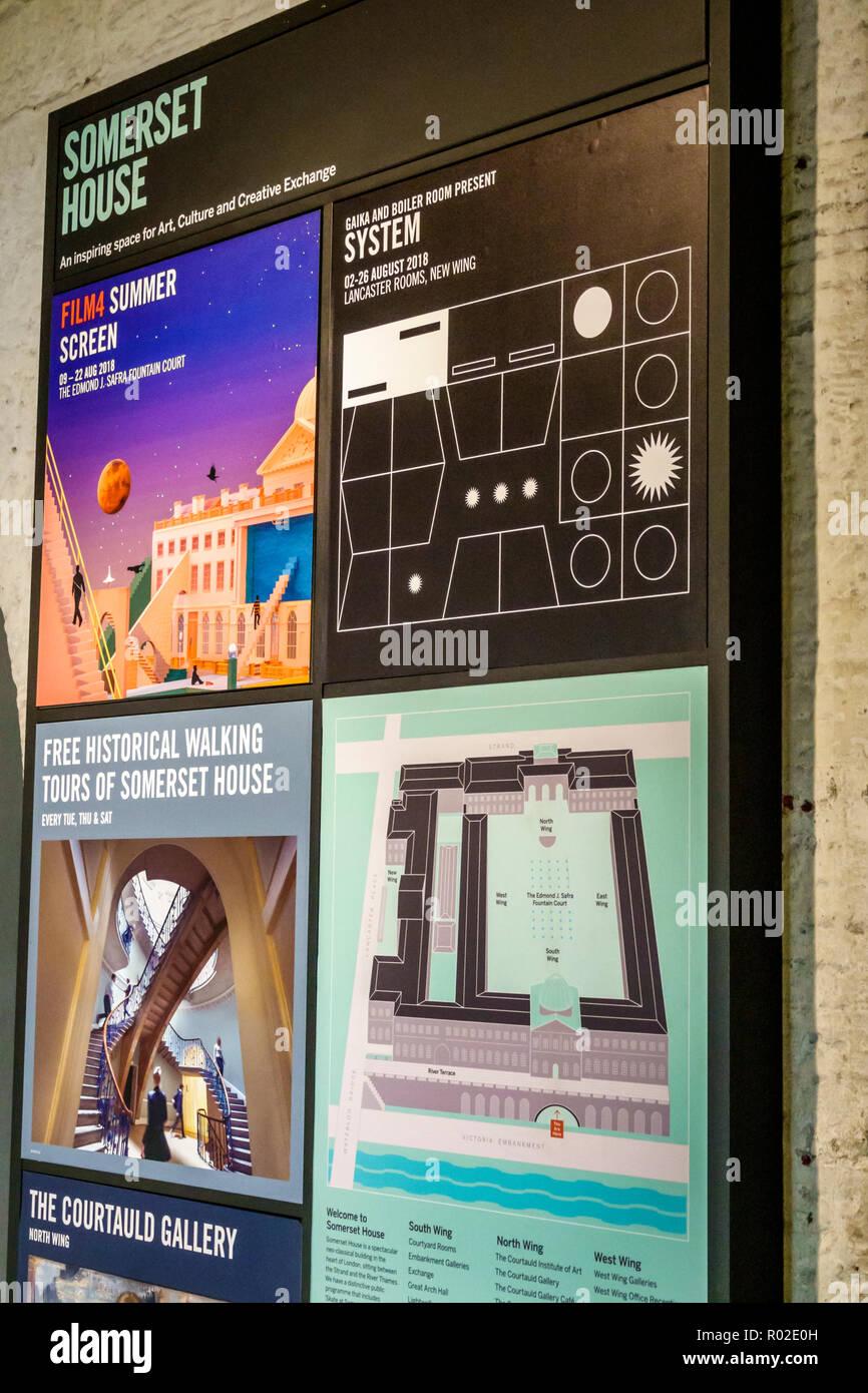 London England Vereinigtes Königreich Großbritannien Covent Garden Strand Somerset House Arts Center Center Complex Karte Lage Informationen für Besucher Stockbild