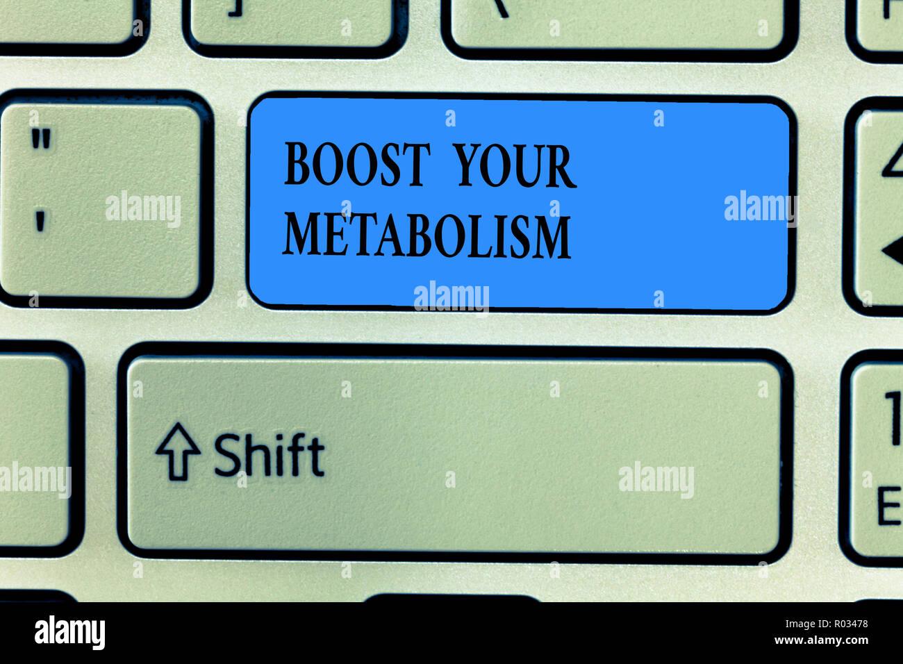 Handschrift Text schreiben Steigern Sie Ihren Stoffwechsel. Konzept Bedeutung der Effizienz in der brennenden Körper Fette erhöhen. Stockbild