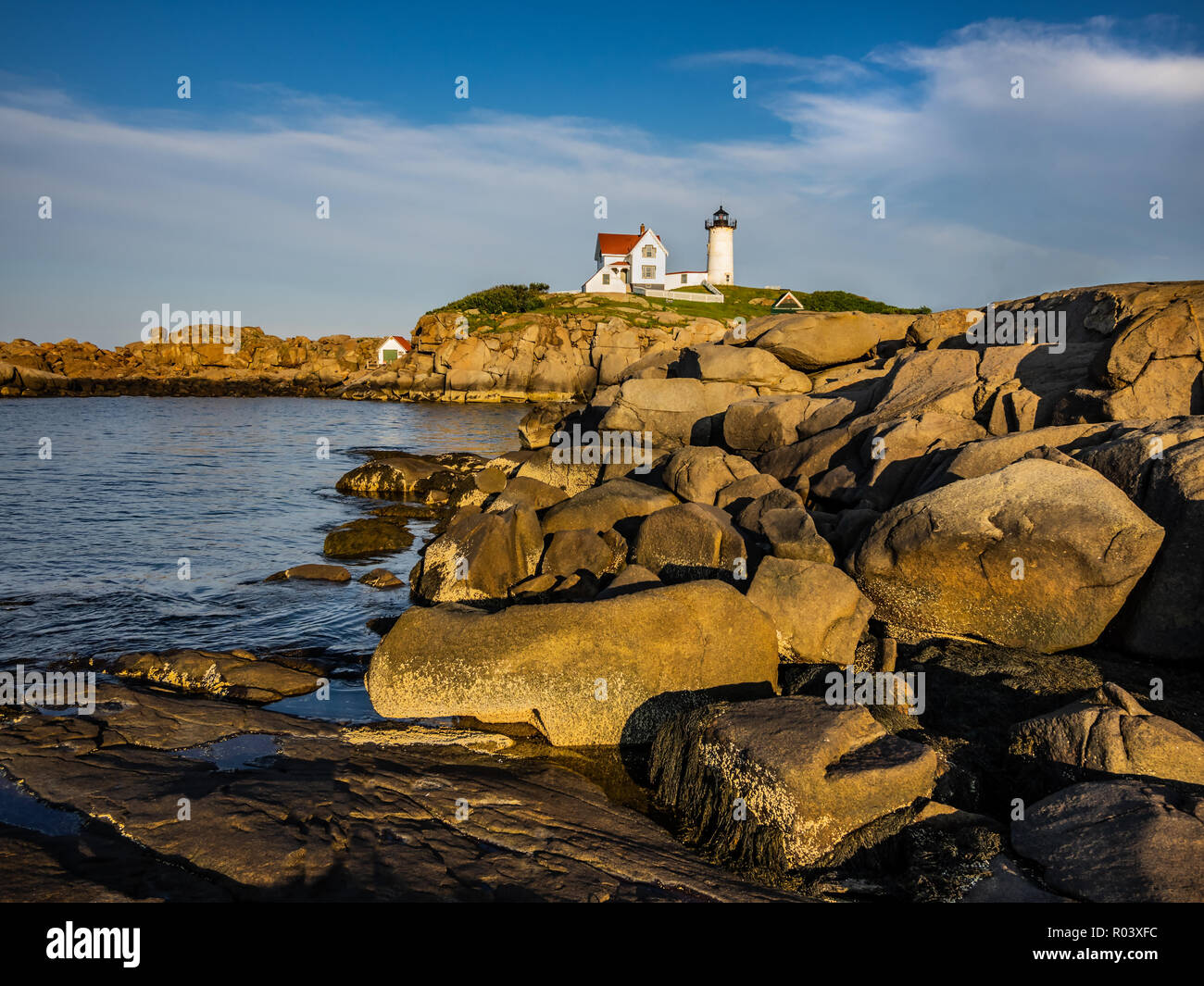 Cape Neddick Leuchtturm, Sofort startbereit, in York, Maine, USA Stockbild