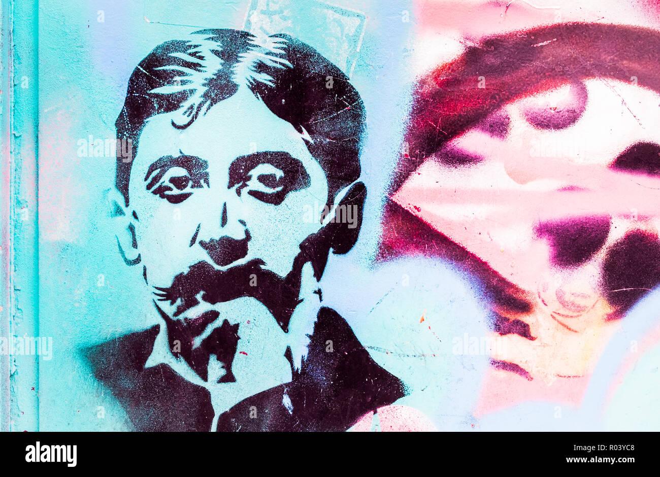 Schablone Porträt des französischen Schriftstellers Marcel Proust paris, Ile de France, Frankreich Stockbild