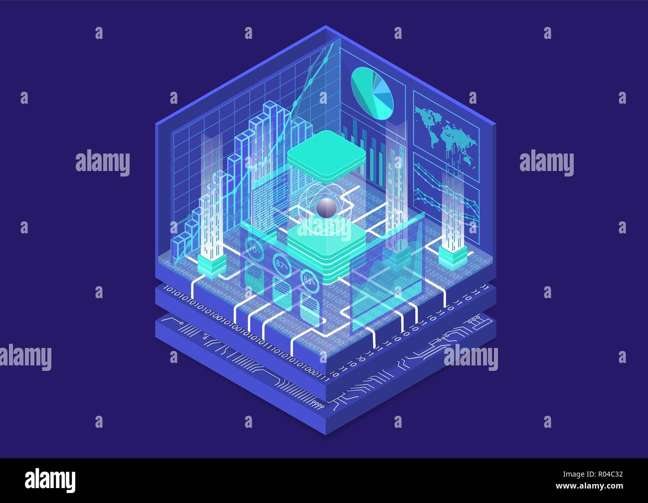 Quantum computing isometrische Vector Illustration. 3D-Ansicht auf konzeptionelle Quantencomputer Stock Vektor