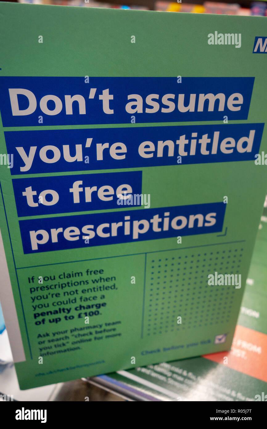Denke nicht, dass Sie zu kostenlosen prescrption Anmelden ein Chemiker sind berechtigt, Patienten nhs Tabletten Stockbild