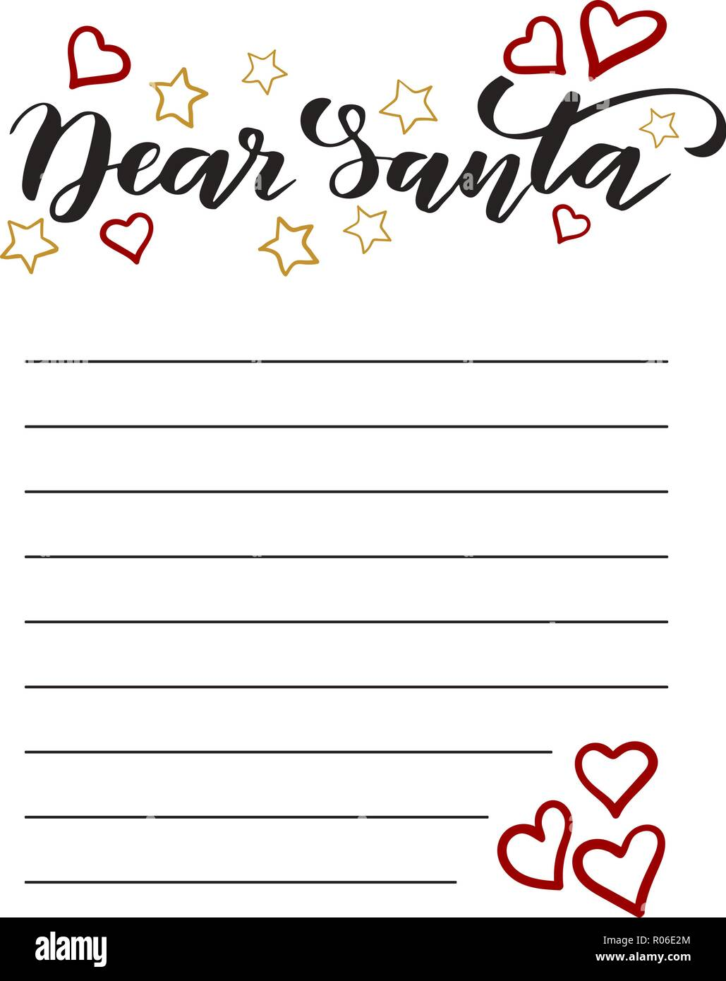 Vorlage Brief An Santa Vektor Abbildung Bild 223877548 Alamy