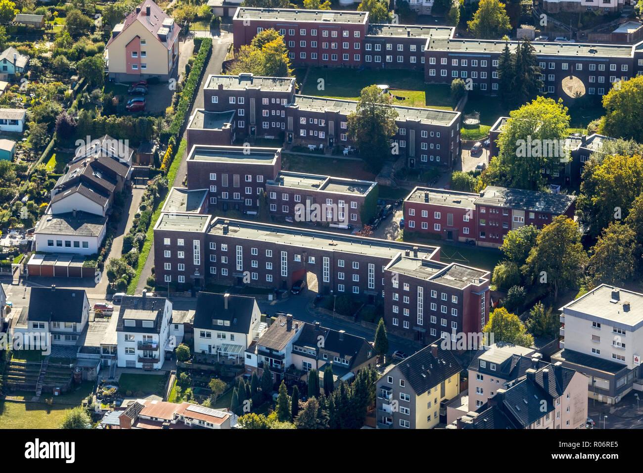 Luftaufnahme, Cunosiedlung zwischen Leopoldstraße und Albrechtstraße, Hagen, Ruhrgebiet, Nordrhein-Westfalen, Deutschland, Europa, DEU, Vögel-Augen-blick, ein Stockbild