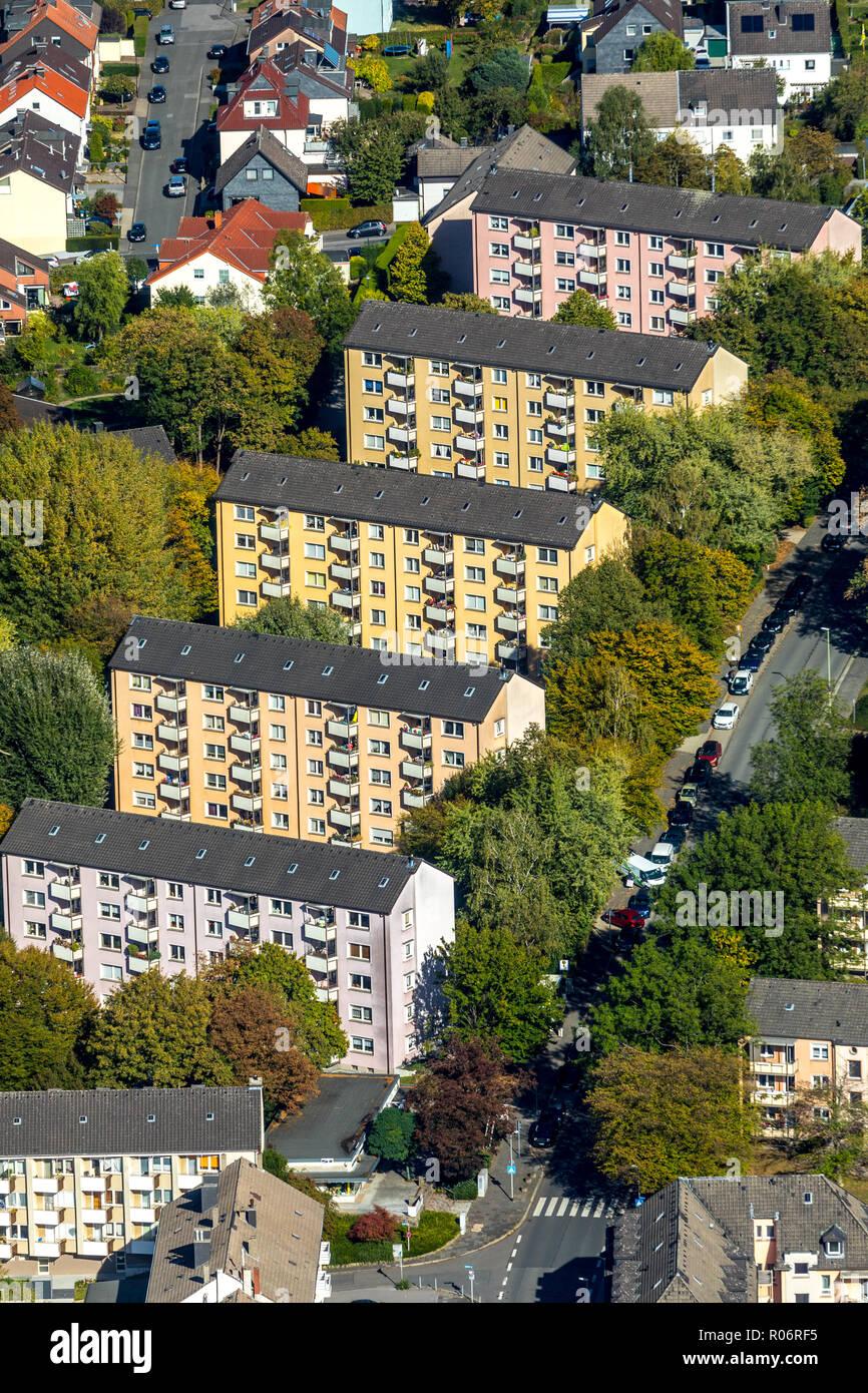 Luftbild Wohngebiet zwischen Haldener Straße und Lützowstraße, Haldenerheide, Hagen, Ruhrgebiet, Nordrhein-Westfalen, Deutschland, Europa, DEU, Stockbild