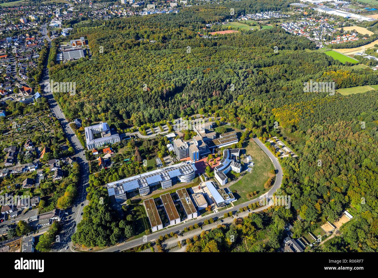 Luftbild, FernUniversität in Hagen-Zentrums für Medien und IT, Universitätsbibliothek, Fakultät für Kultur- und Sozialwissenschaften, Mensa, Universi Stockbild