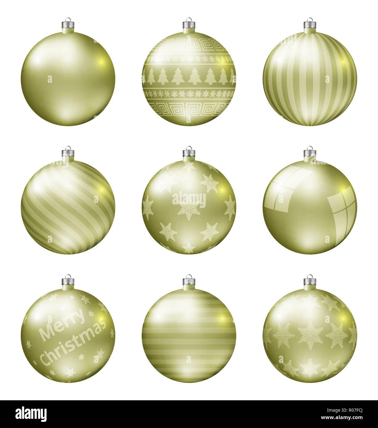 Christbaumkugeln Gelb.Satz Weihnachtskugeln Stockfotos Satz Weihnachtskugeln Bilder Alamy