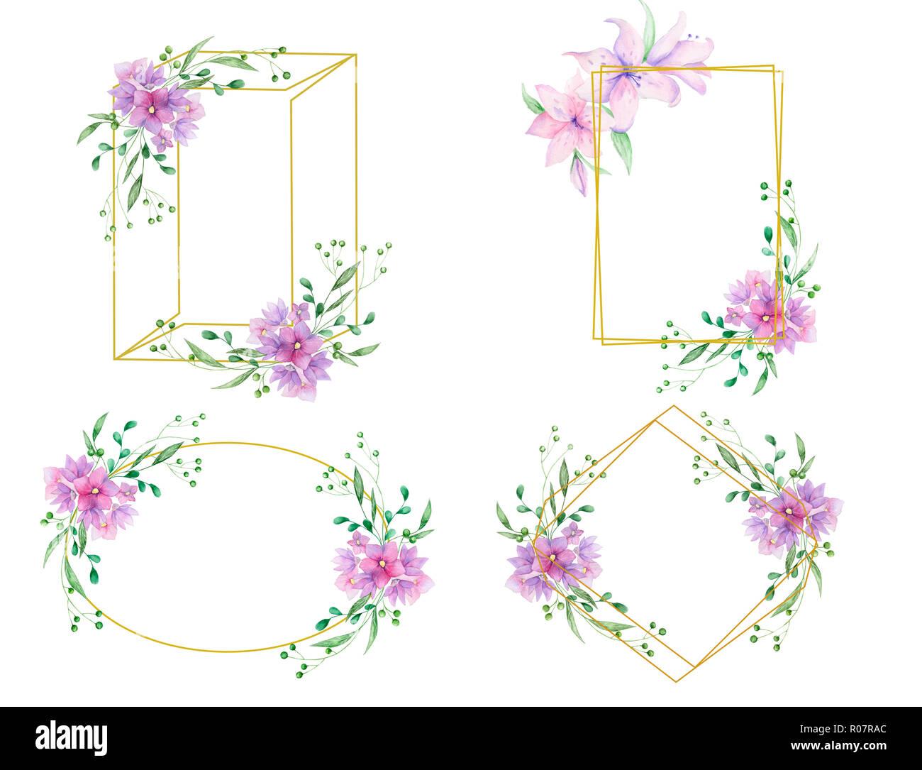 Hochzeit einladung floral einladen karte oliven blumen und blumen vertikale geometrische goldene rahmen drucken weißer hintergrund