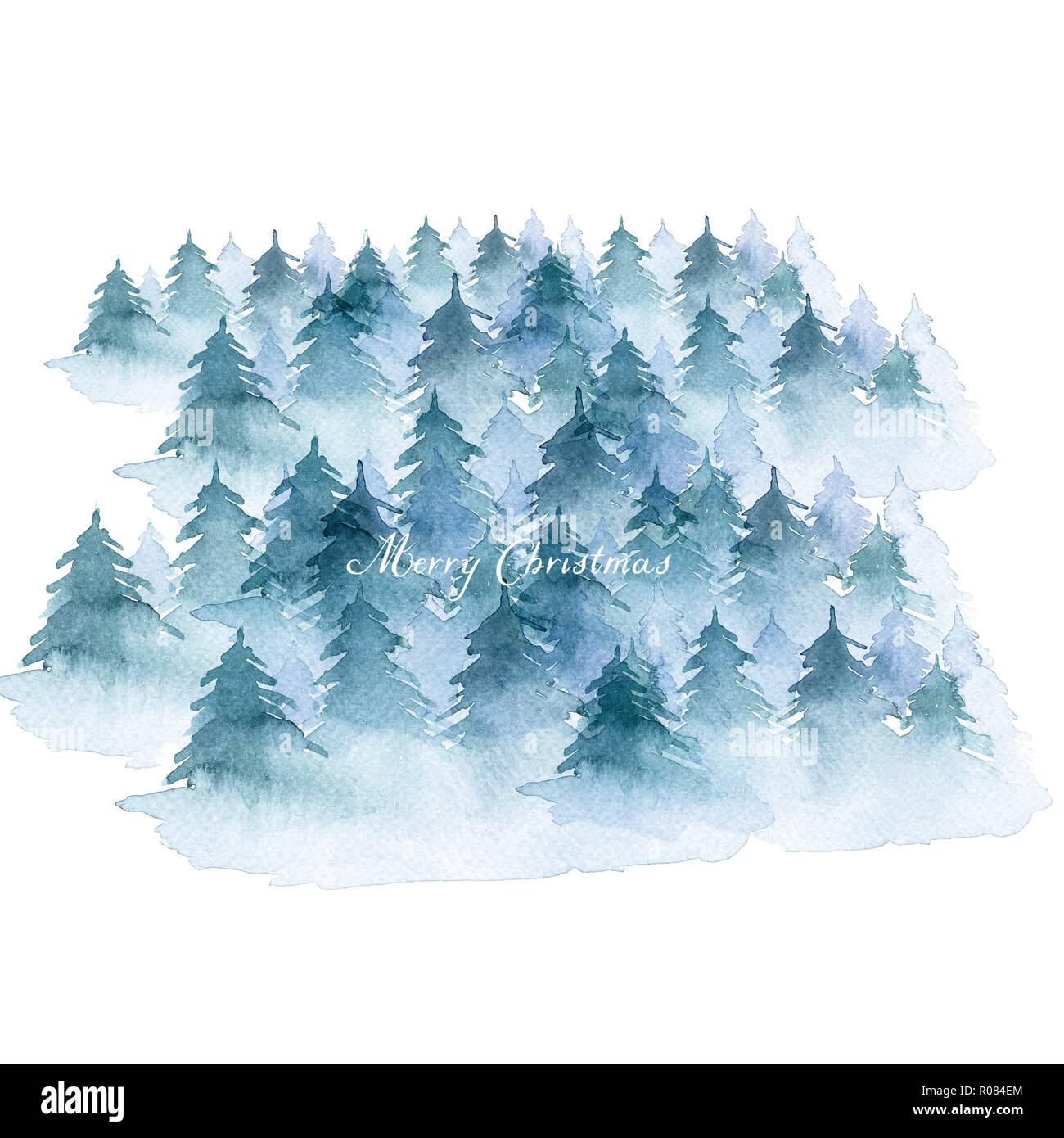 Hintergrund gemalt mit Aquarell. Hand gezeichnete Landschaft von ...