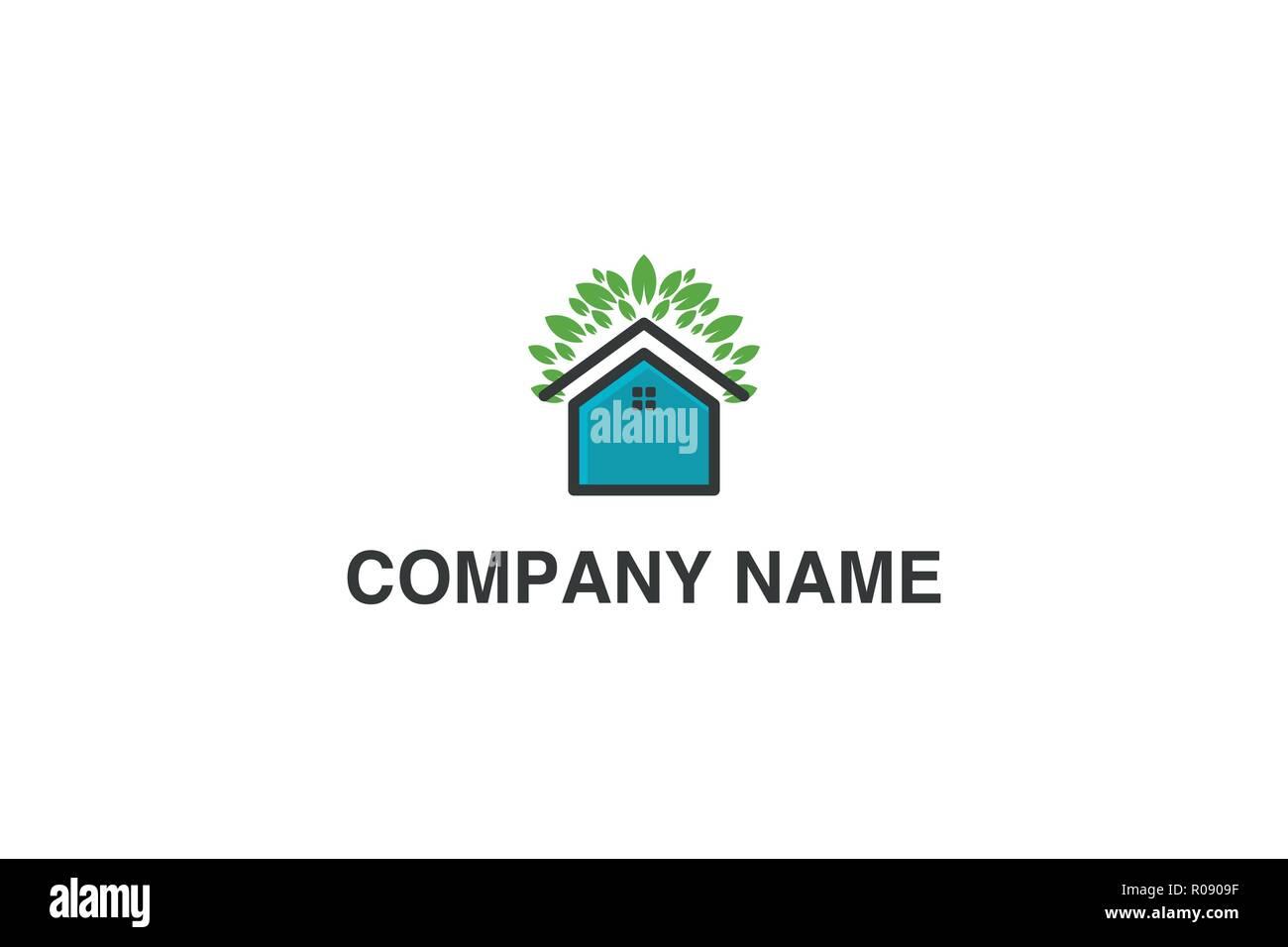 Haus und grünes Blatt, Eco house Logo Designs Inspiration isoliert