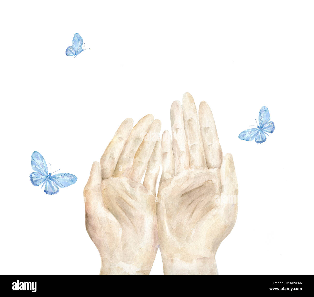 hand und blauer schmetterling öffnen aquarell abbildung