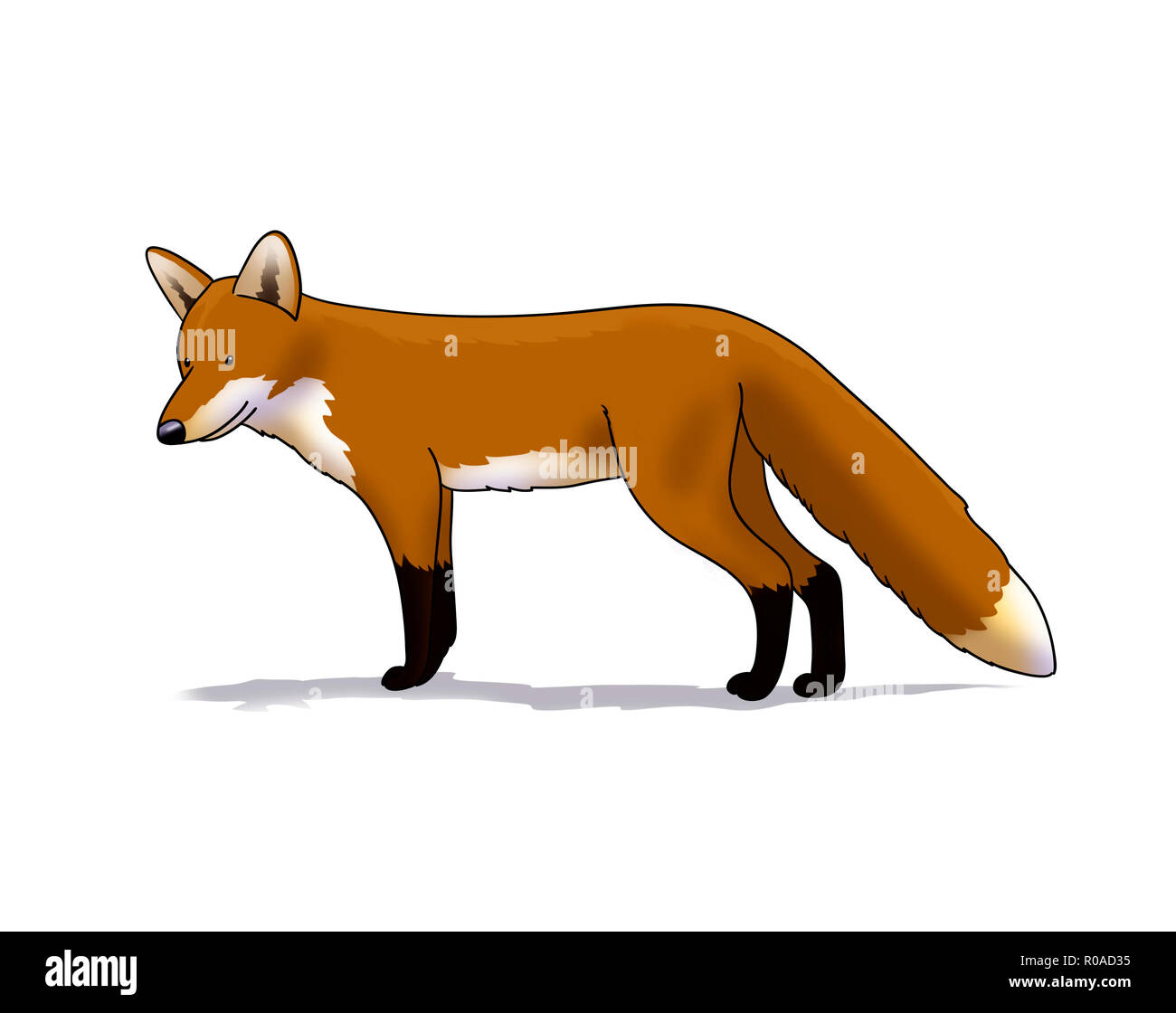 Digitale Illustration eines Fox inked Stockbild