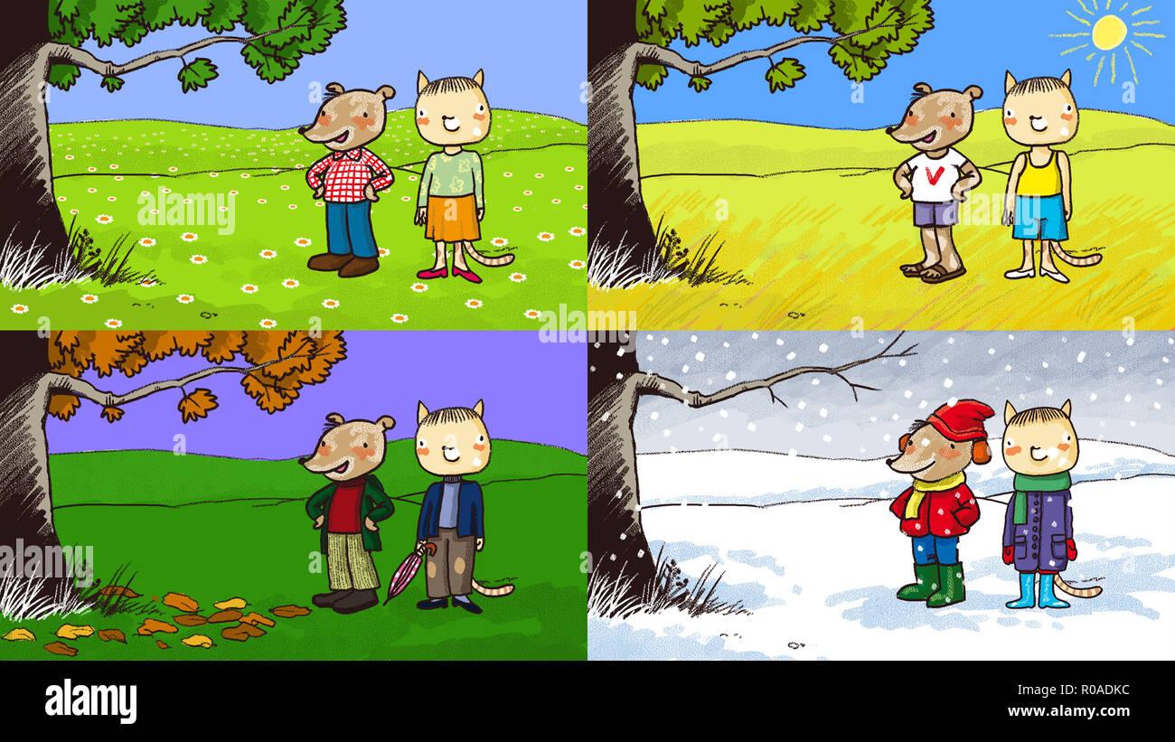 Vier Jahreszeiten digitale Illustration, Kinder Stil Stockbild