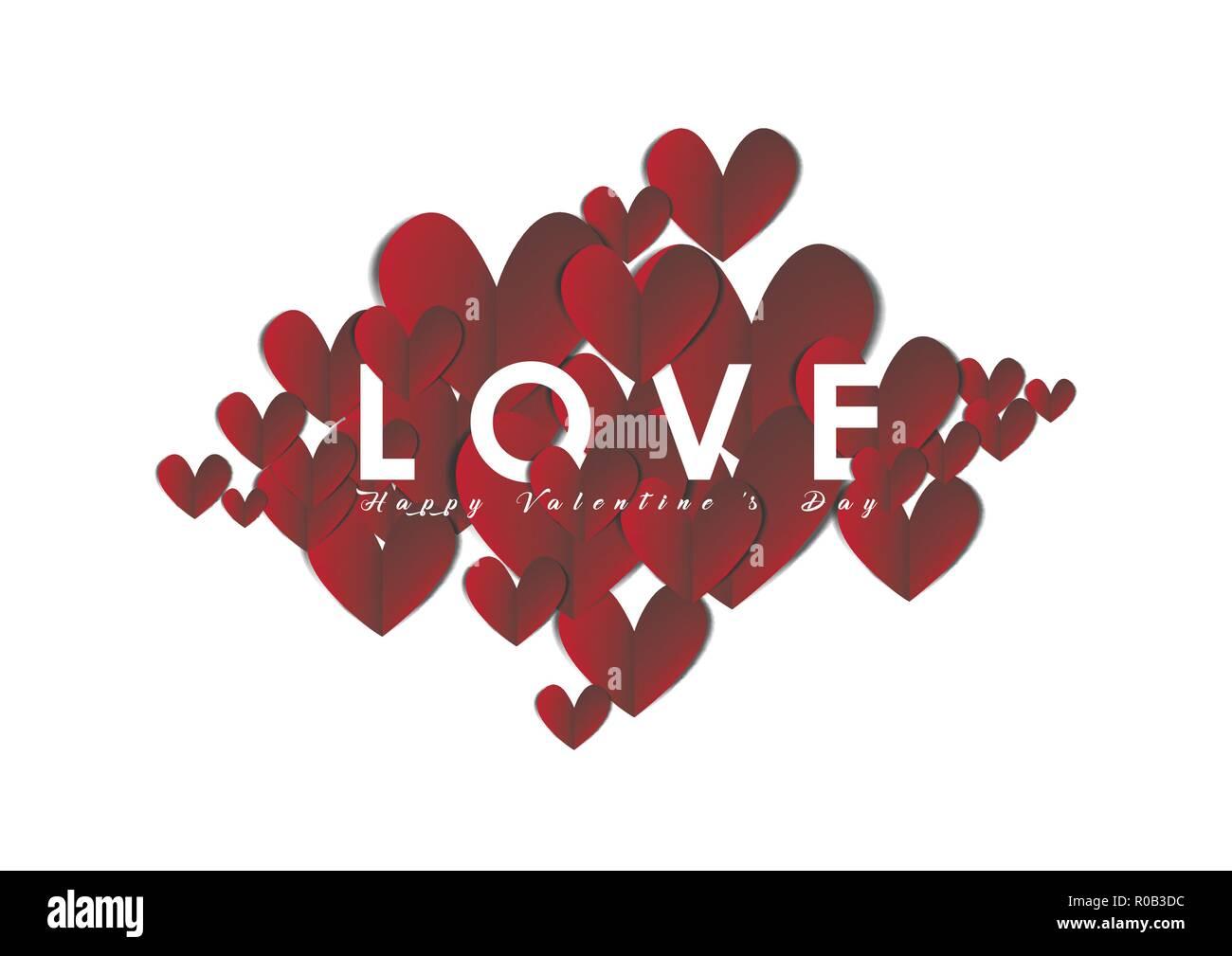 Valentinstag Herz Aus Papier Abstract Background Vektor Design