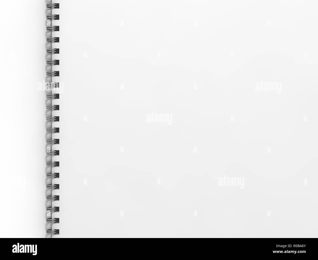 Leer notebook auf weißem Hintergrund. 3D-Rendering Stockbild