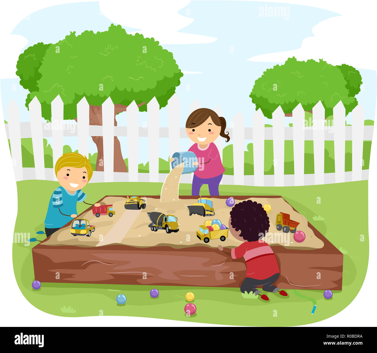abbildung stickman kinder spielen im sandkasten im garten mit kugeln und spielzeug stockfoto