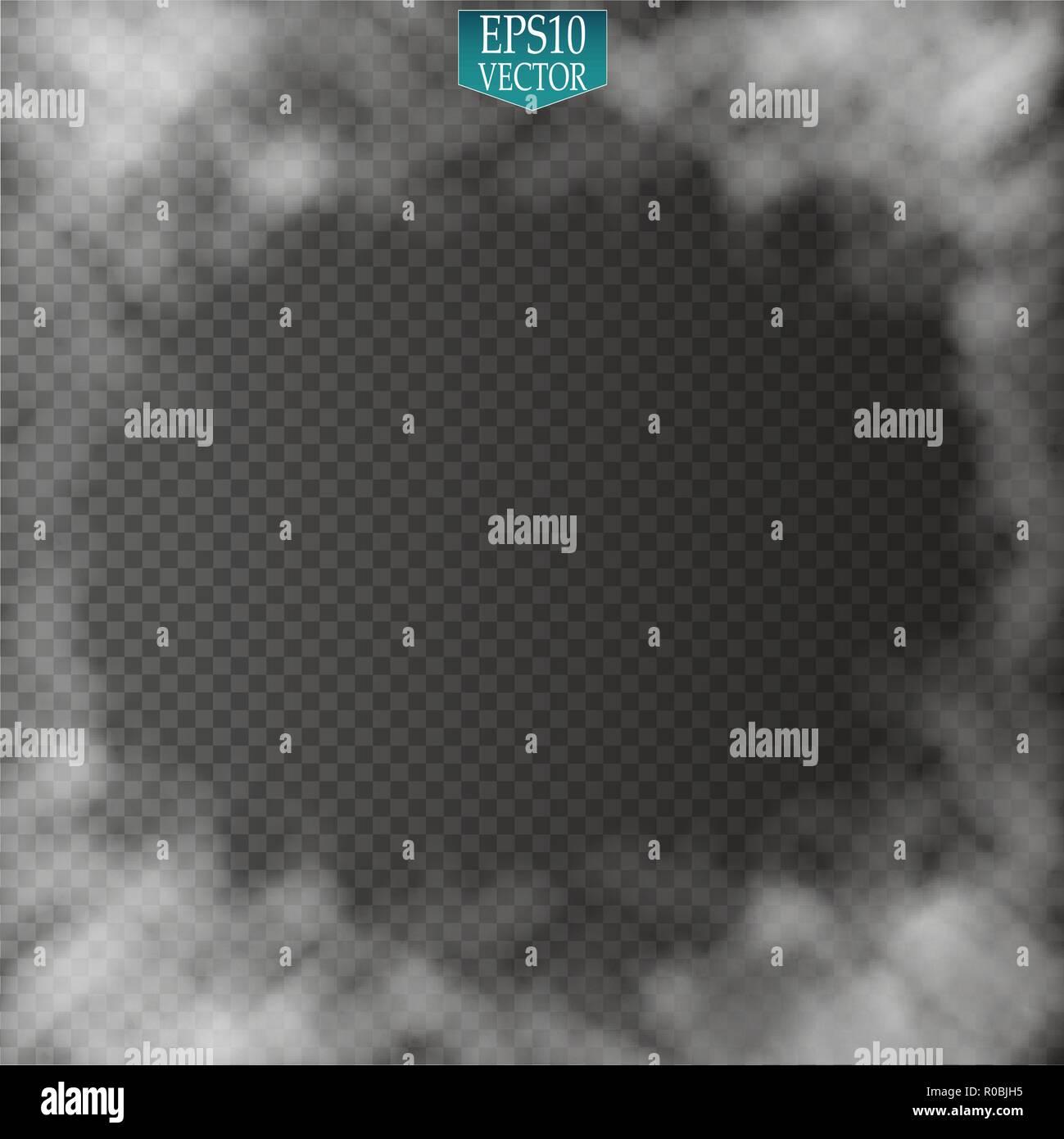 Nebel oder Rauch isolierte transparente Spezialeffekt. Weiße Vektor Bewölkung, Nebel oder Smog Hintergrund. Vektor-illustration Stockbild