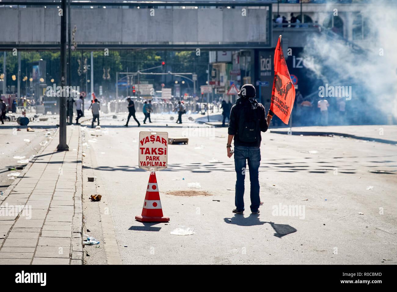 Junge weibliche Demonstrant Holding eine Fahne auf einer Straße mit Tränengas durch die Polizei während Gezi-park Proteste in Ankara, Türkei feuerte abgedeckt Stockbild