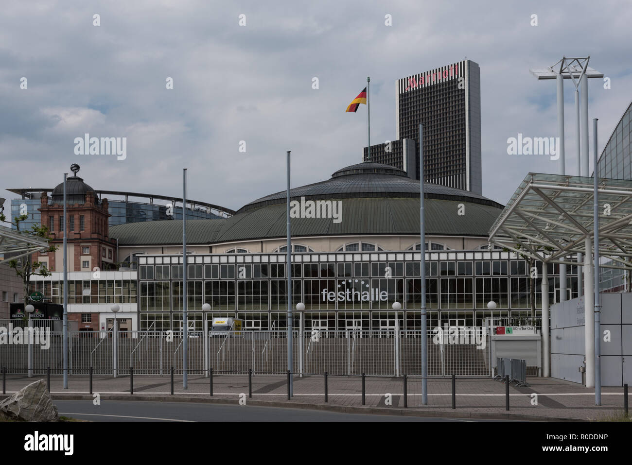 Festhalle Frankfurt, Mehrzweckhalle auf dem Messegelände von Frankfurt, Deutschland. Stockbild