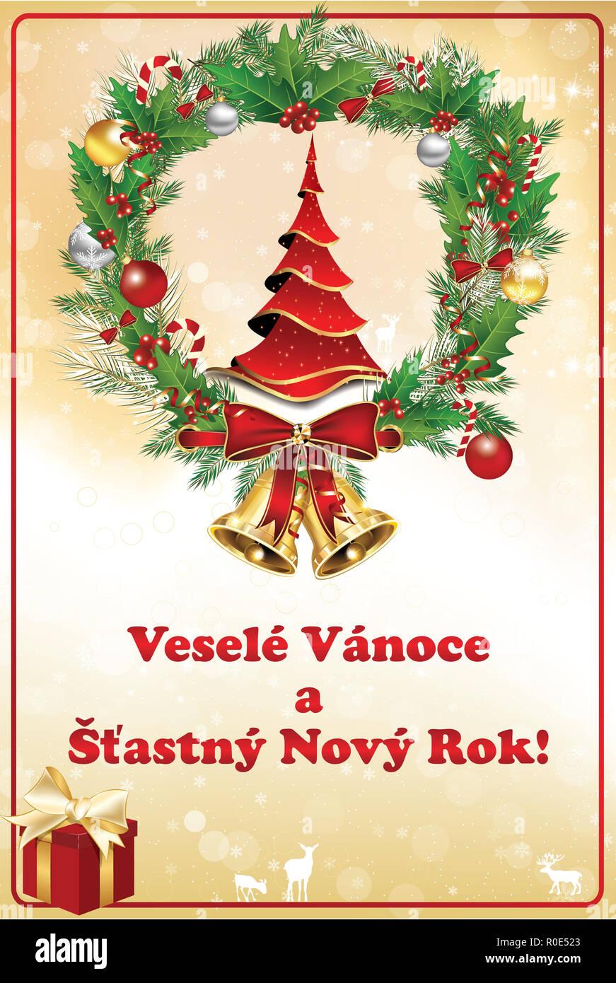übersetzer Frohe Weihnachten.Tschechische Grußkarte Für Den Winterurlaub Jahreszeit Konzipiert